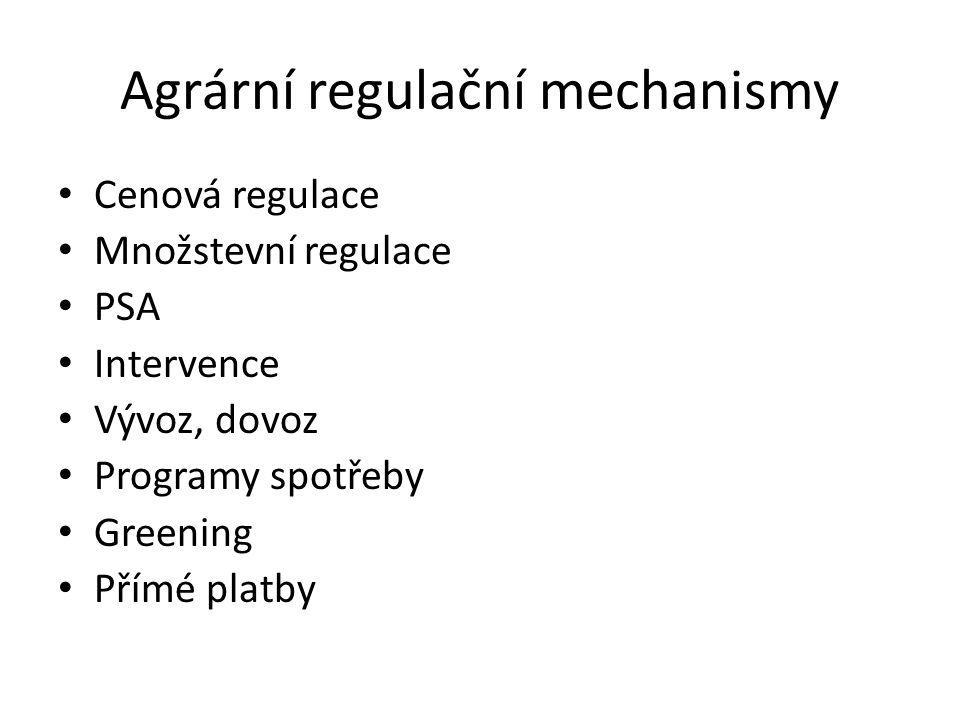 Agrární regulační mechanismy Cenová regulace Množstevní regulace PSA Intervence Vývoz, dovoz Programy spotřeby Greening Přímé platby