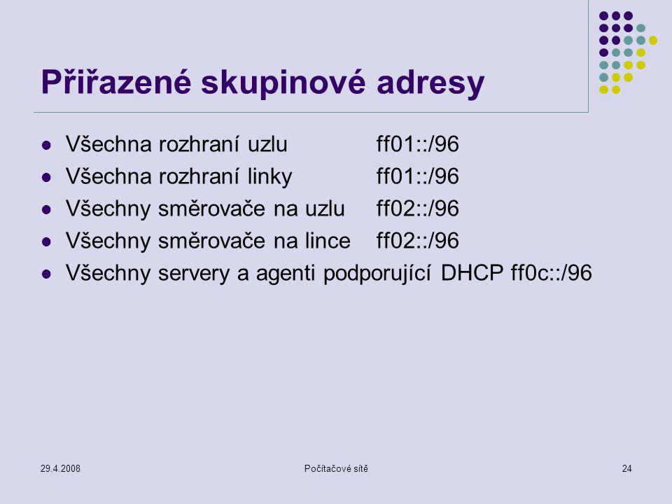 29.4.2008Počítačové sítě24 Přiřazené skupinové adresy Všechna rozhraní uzluff01::/96 Všechna rozhraní linkyff01::/96 Všechny směrovače na uzluff02::/96 Všechny směrovače na linceff02::/96 Všechny servery a agenti podporující DHCPff0c::/96