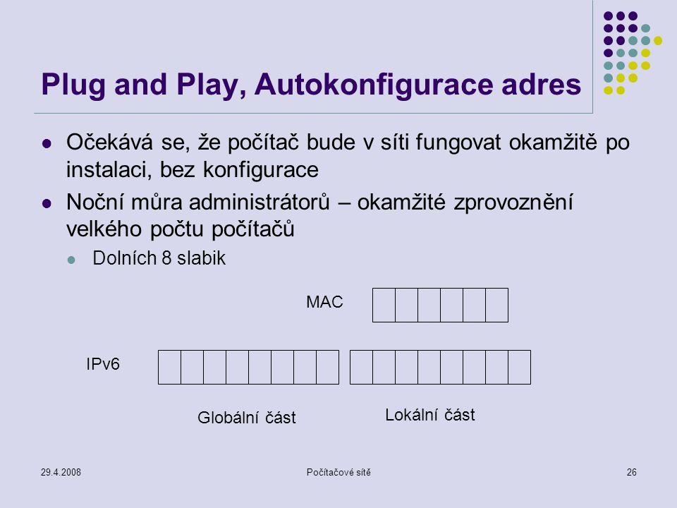 29.4.2008Počítačové sítě26 Plug and Play, Autokonfigurace adres Očekává se, že počítač bude v síti fungovat okamžitě po instalaci, bez konfigurace Noč