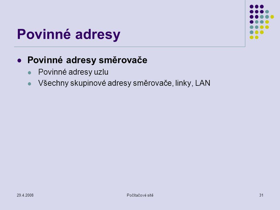29.4.2008Počítačové sítě31 Povinné adresy Povinné adresy směrovače Povinné adresy uzlu Všechny skupinové adresy směrovače, linky, LAN