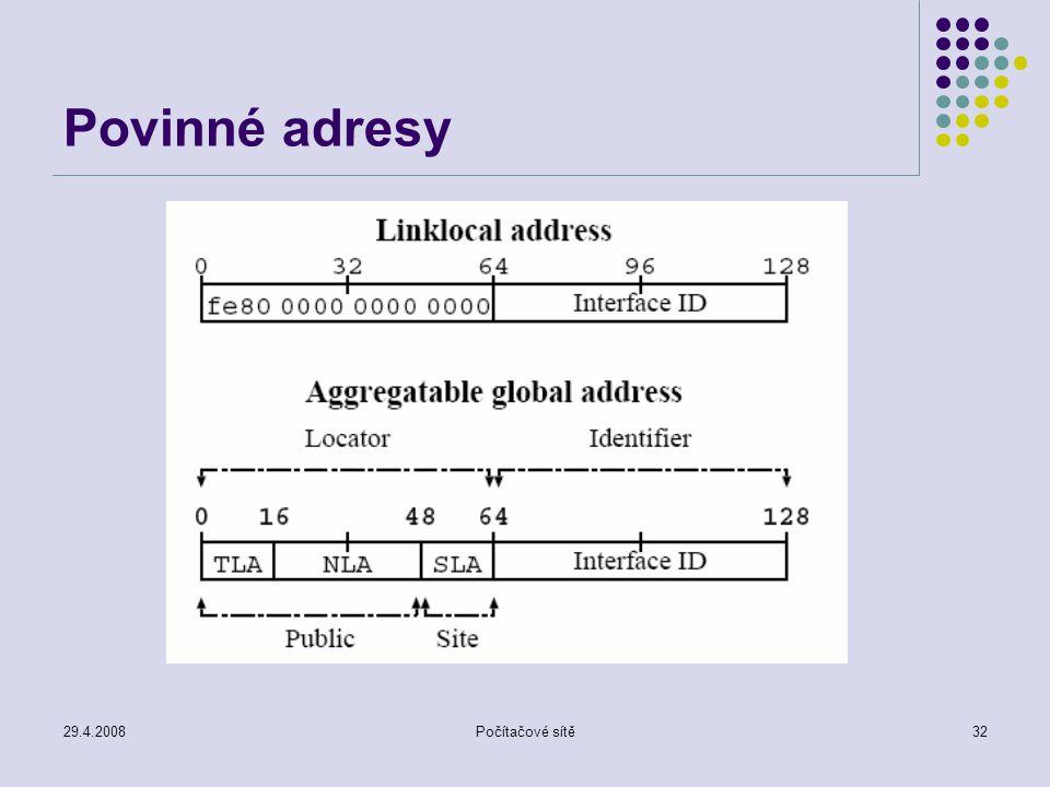 29.4.2008Počítačové sítě32 Povinné adresy