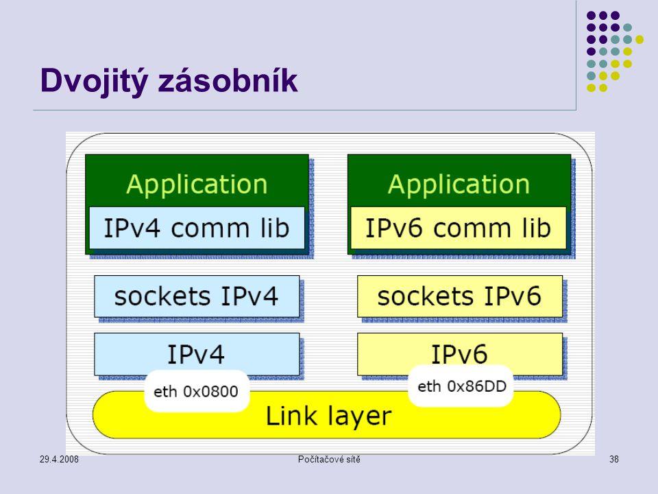 29.4.2008Počítačové sítě38 Dvojitý zásobník