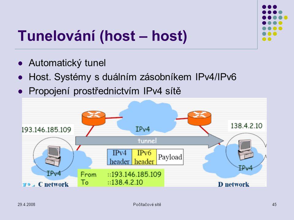 29.4.2008Počítačové sítě45 Tunelování (host – host) Automatický tunel Host. Systémy s duálním zásobníkem IPv4/IPv6 Propojení prostřednictvím IPv4 sítě