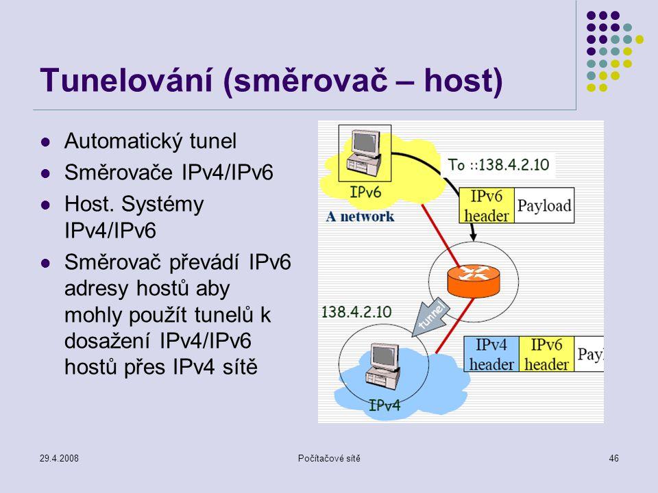 29.4.2008Počítačové sítě46 Tunelování (směrovač – host) Automatický tunel Směrovače IPv4/IPv6 Host.