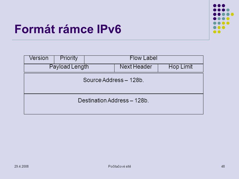 29.4.2008Počítačové sítě48 Formát rámce IPv6 VersionPriorityFlow Label Payload LengthNext HeaderHop Limit Source Address – 128b. Destination Address –