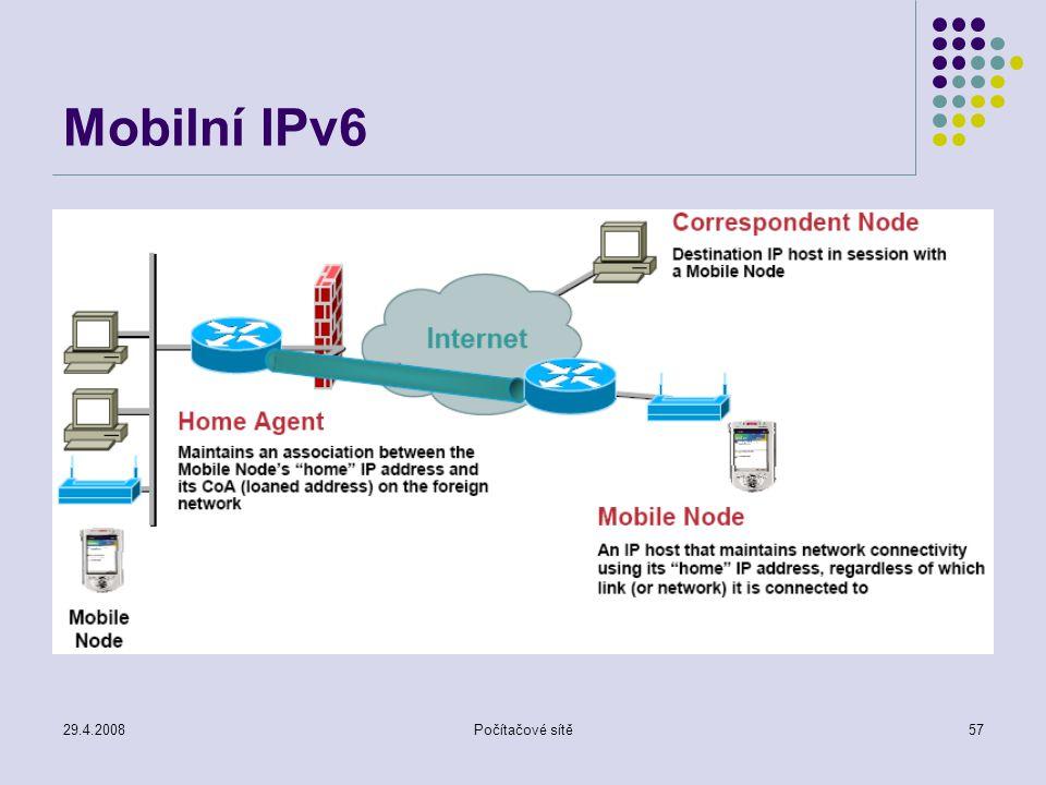 29.4.2008Počítačové sítě57 Mobilní IPv6
