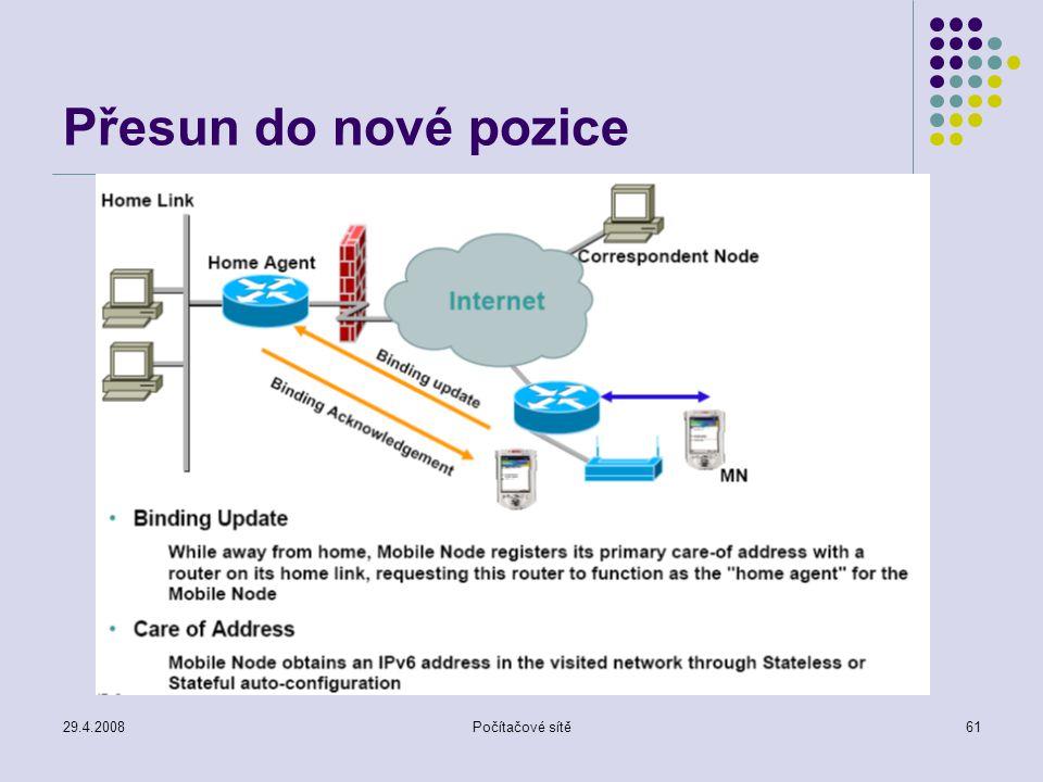 29.4.2008Počítačové sítě61 Přesun do nové pozice