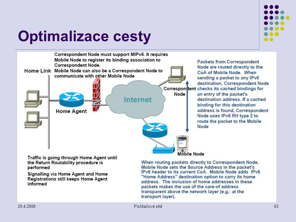 29.4.2008Počítačové sítě63 Optimalizace cesty