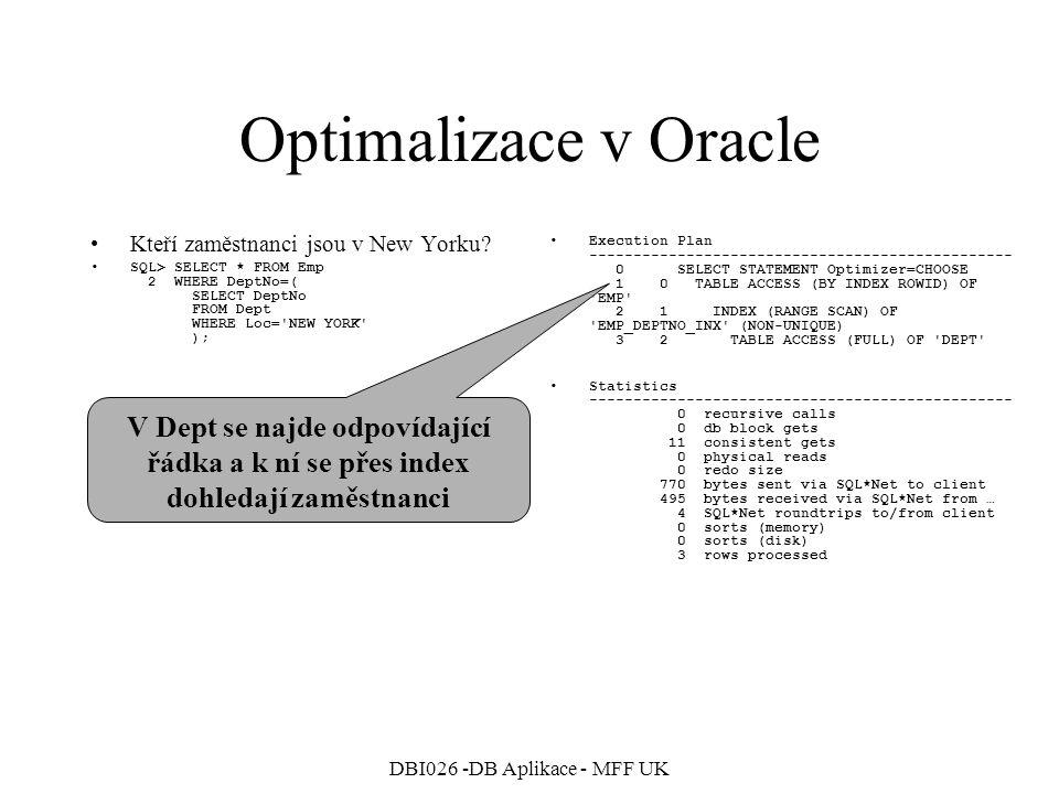 DBI026 -DB Aplikace - MFF UK Optimalizace v Oracle Kteří zaměstnanci jsou v New Yorku.