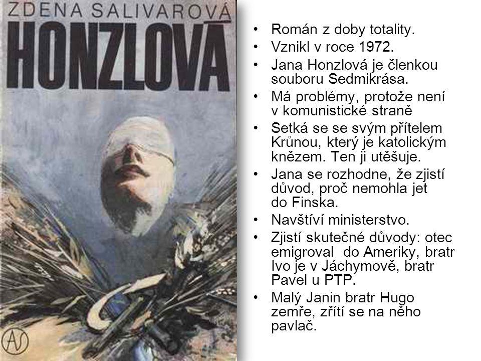 Román z doby totality. Vznikl v roce 1972. Jana Honzlová je členkou souboru Sedmikrása. Má problémy, protože není v komunistické straně Setká se se sv