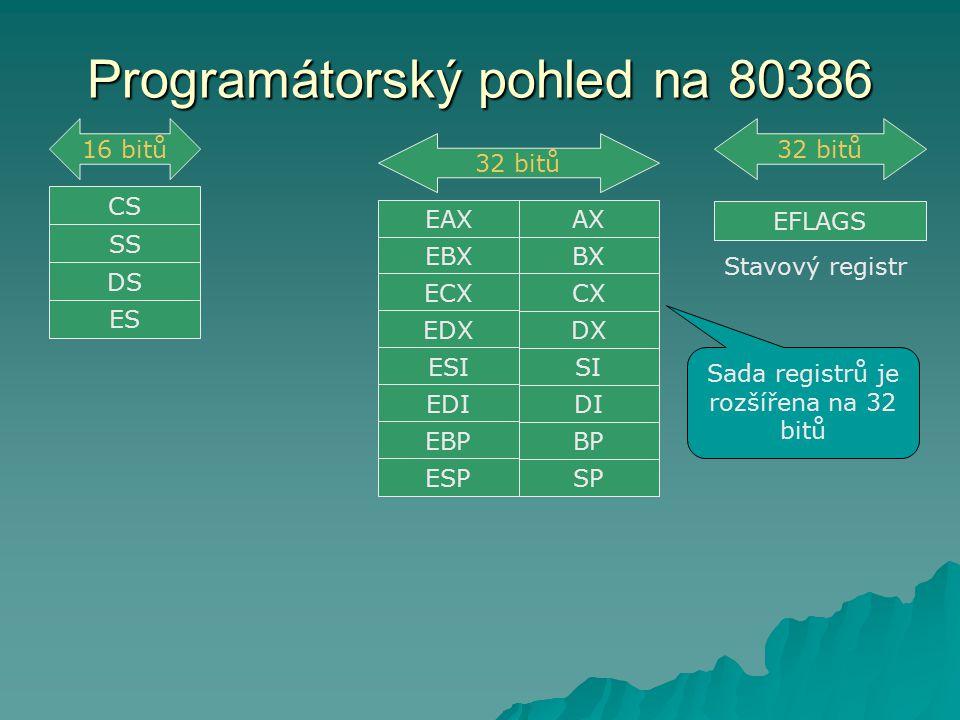 Programátorský pohled na 80386 EFLAGS Stavový registr AX SP BP DI SI DX BX CX 32 bitů EAX EBX ECX EDX ESI EDI EBP ESP Sada registrů je rozšířena na 32 bitů CS SS DS ES 16 bitů32 bitů