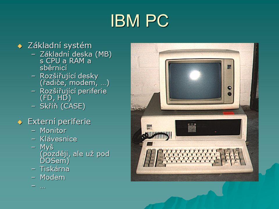 IBM PC  Základní systém –Základní deska (MB) s CPU a RAM a sběrnicí –Rozšiřující desky (řadiče, modem, …) –Rozšiřující periferie (FD, HD) –Skříň (CASE)  Externí periferie –Monitor –Klávesnice –Myš (později, ale už pod DOSem) –Tiskárna –Modem –…