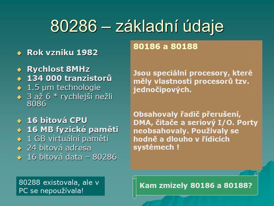 80286 – základní údaje  Rok vzniku 1982  Rychlost 8MHz  134 000 tranzistorů  1.5 µm technologie  3 až 6 * rychlejší nežli 8086  16 bitová CPU  16 MB fyzické paměti  1 GB virtuální paměti  24 bitová adresa  16 bitová data – 80286 Kam zmizely 80186 a 80188.