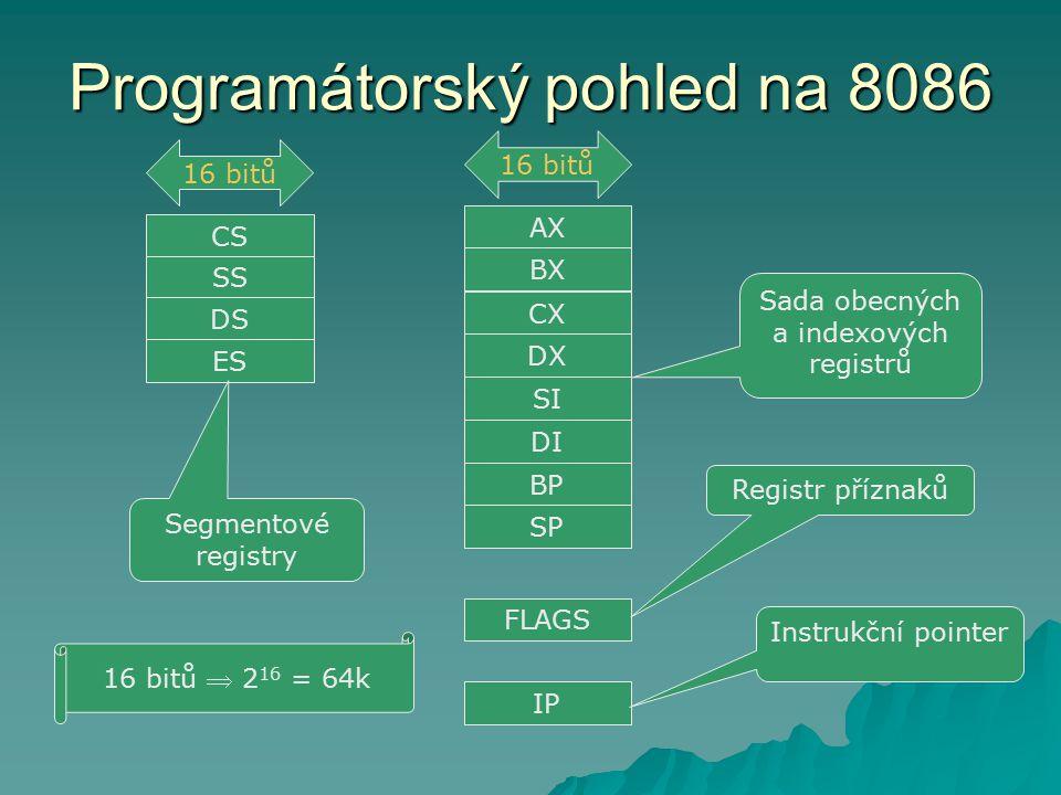 Programátorský pohled na 8086 AX SP BP DI SI DX BX CX FLAGS IP Sada obecných a indexových registrů 16 bitů Registr příznaků Instrukční pointer CS SS DS ES 16 bitů Segmentové registry 16 bitů  2 16 = 64k