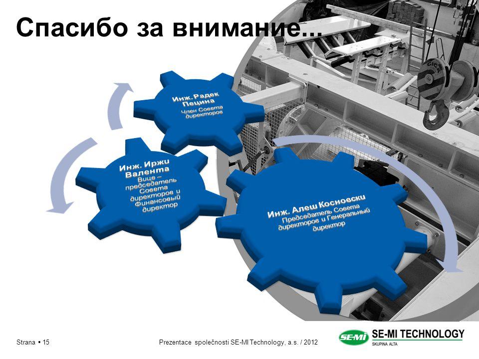 Prezentace společnosti SE-MI Technology, a.s. / 2012Strana  15 Спасибо за внимание...