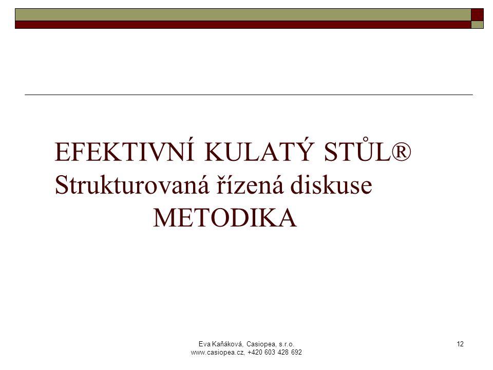 Eva Kaňáková, Casiopea, s.r.o. www.casiopea.cz, +420 603 428 692 12 EFEKTIVNÍ KULATÝ STŮL® Strukturovaná řízená diskuse METODIKA