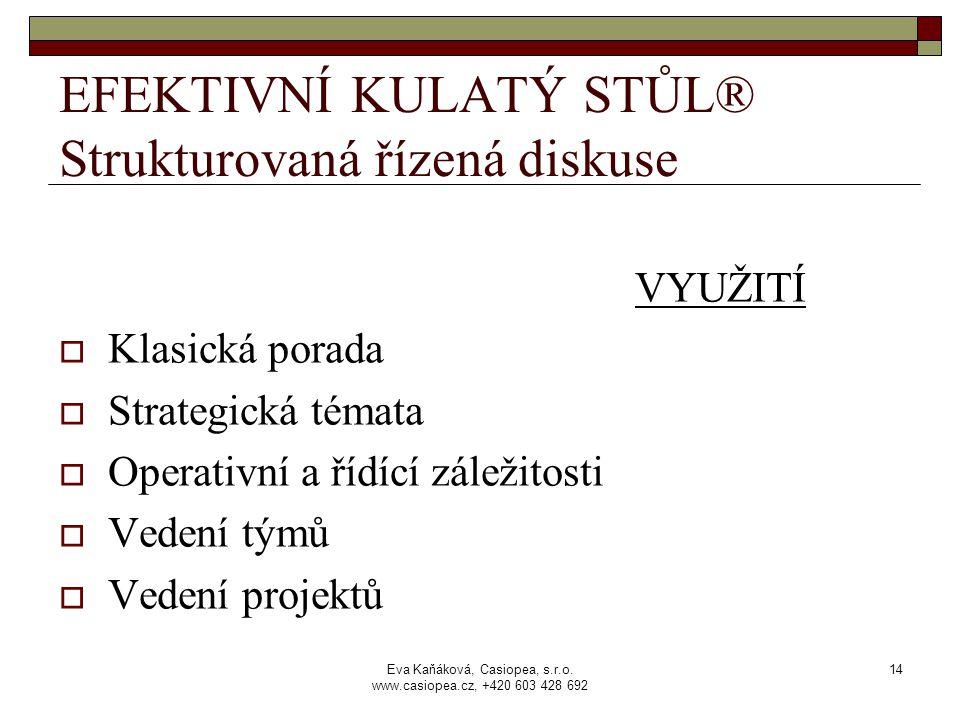 Eva Kaňáková, Casiopea, s.r.o. www.casiopea.cz, +420 603 428 692 14 EFEKTIVNÍ KULATÝ STŮL® Strukturovaná řízená diskuse VYUŽITÍ  Klasická porada  St