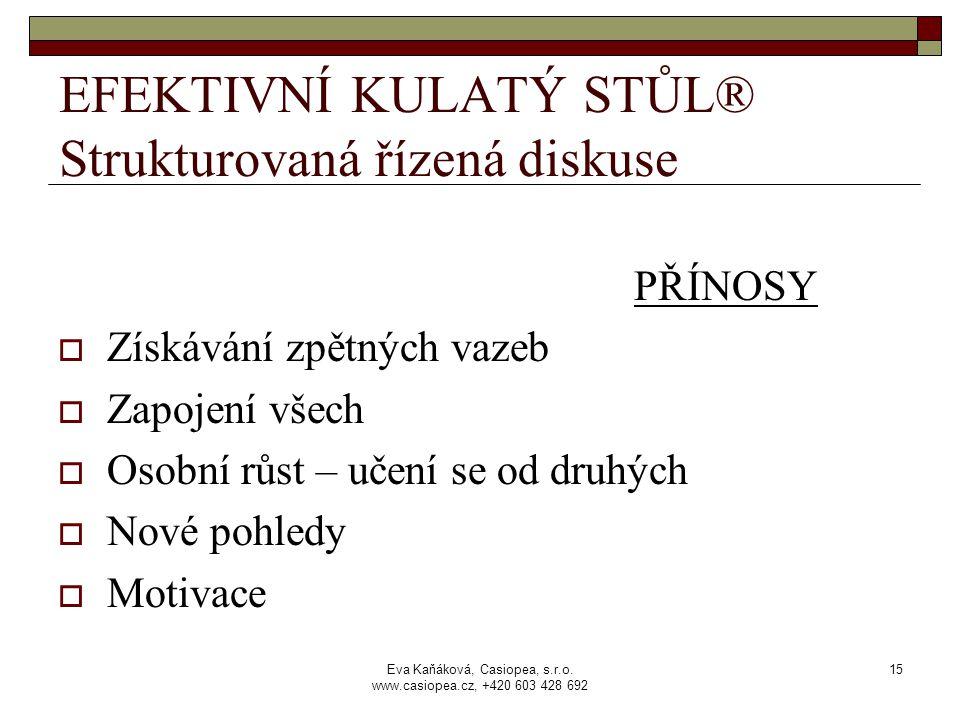 Eva Kaňáková, Casiopea, s.r.o. www.casiopea.cz, +420 603 428 692 15 EFEKTIVNÍ KULATÝ STŮL® Strukturovaná řízená diskuse PŘÍNOSY  Získávání zpětných v