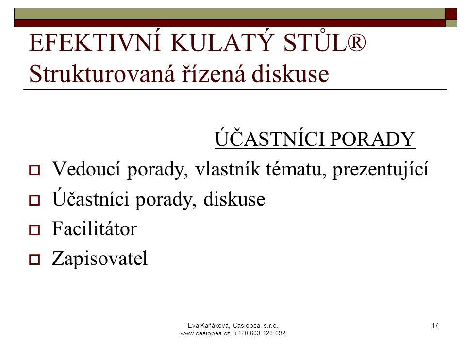Eva Kaňáková, Casiopea, s.r.o. www.casiopea.cz, +420 603 428 692 17 EFEKTIVNÍ KULATÝ STŮL® Strukturovaná řízená diskuse ÚČASTNÍCI PORADY  Vedoucí por