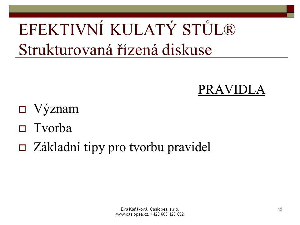 Eva Kaňáková, Casiopea, s.r.o. www.casiopea.cz, +420 603 428 692 19 EFEKTIVNÍ KULATÝ STŮL® Strukturovaná řízená diskuse PRAVIDLA  Význam  Tvorba  Z