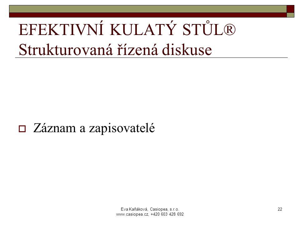 Eva Kaňáková, Casiopea, s.r.o. www.casiopea.cz, +420 603 428 692 22 EFEKTIVNÍ KULATÝ STŮL® Strukturovaná řízená diskuse  Záznam a zapisovatelé