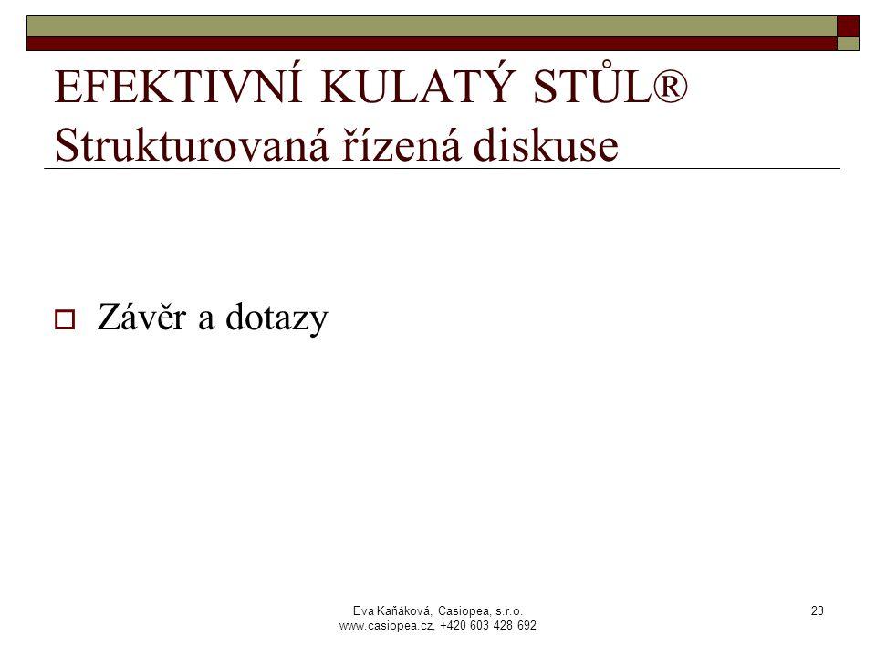 Eva Kaňáková, Casiopea, s.r.o. www.casiopea.cz, +420 603 428 692 23 EFEKTIVNÍ KULATÝ STŮL® Strukturovaná řízená diskuse  Závěr a dotazy