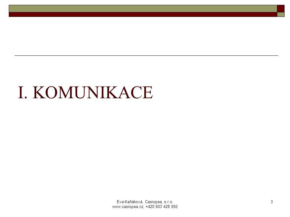 Eva Kaňáková, Casiopea, s.r.o. www.casiopea.cz, +420 603 428 692 3 I. KOMUNIKACE