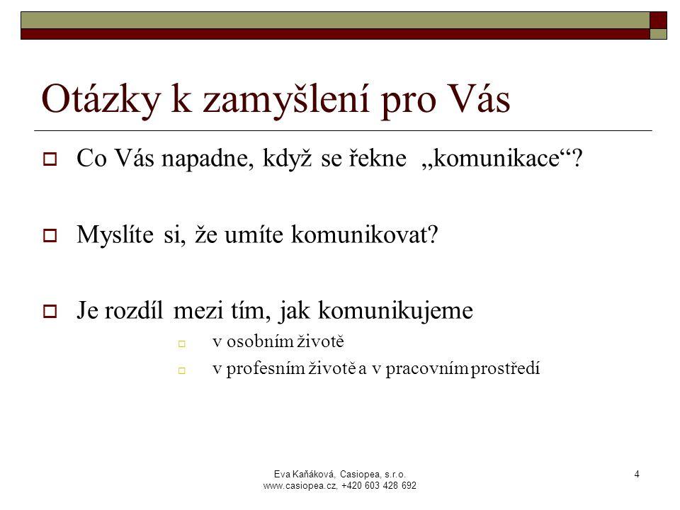 """Eva Kaňáková, Casiopea, s.r.o. www.casiopea.cz, +420 603 428 692 4 Otázky k zamyšlení pro Vás  Co Vás napadne, když se řekne """"komunikace""""?  Myslíte"""