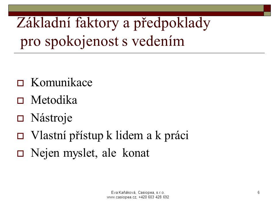 Eva Kaňáková, Casiopea, s.r.o. www.casiopea.cz, +420 603 428 692 6 Základní faktory a předpoklady pro spokojenost s vedením  Komunikace  Metodika 