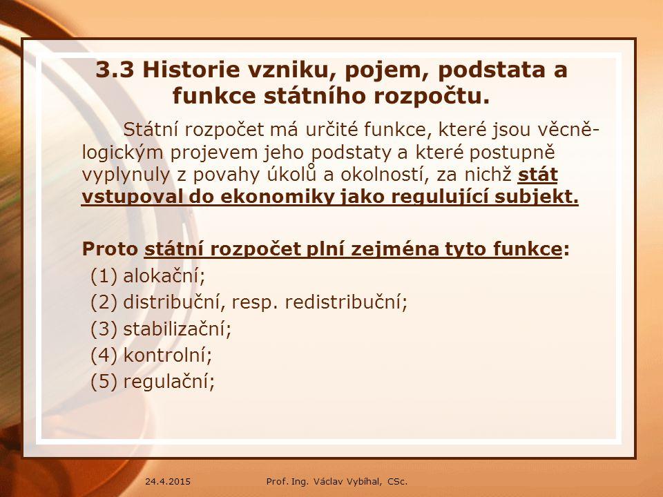 Prof.Ing. Václav Vybíhal, CSc.24.4.2015 3.4 Rozpočtové zásady a pravidla.