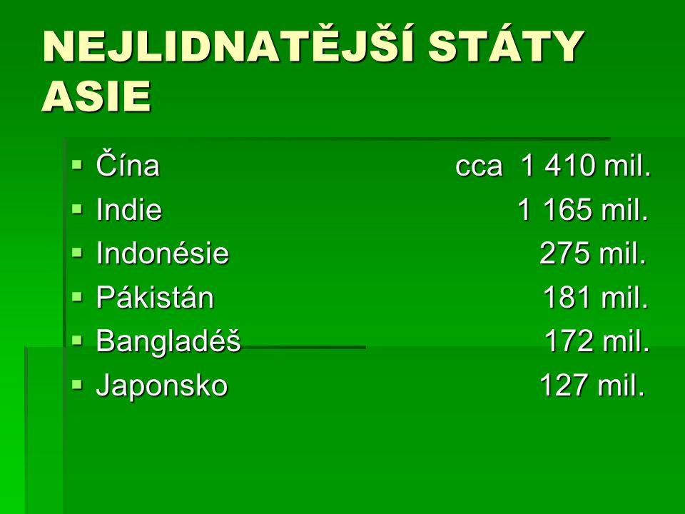 NEJLIDNATĚJŠÍ STÁTY ASIE  Čína cca 1 410 mil.  Indie 1 165 mil.  Indonésie 275 mil.  Pákistán 181 mil.  Bangladéš 172 mil.  Japonsko 127 mil.
