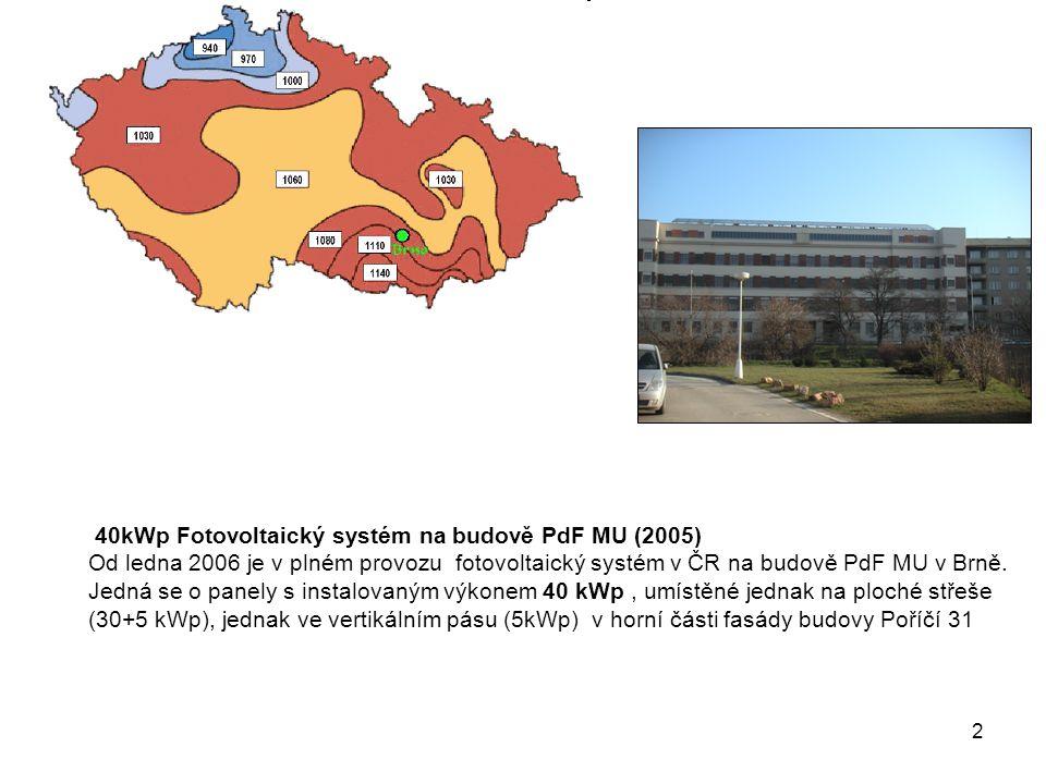 2 40kWp Fotovoltaický systém na budově PdF MU (2005) Od ledna 2006 je v plném provozu fotovoltaický systém v ČR na budově PdF MU v Brně.