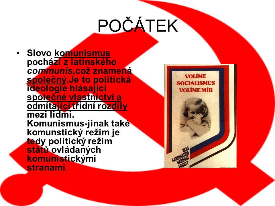 POČÁTEK Slovo komunismus pochází z latinského communis,což znamená společný.Je to politická ideologie hlásající společné vlastnictví a odmítající třídní rozdíly mezi lidmi.