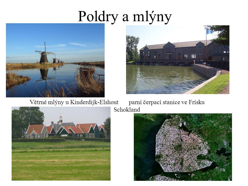 Poldry a mlýny Větrné mlýny u Kinderdijk-Elshoutparní čerpací stanice ve Frísku Schokland
