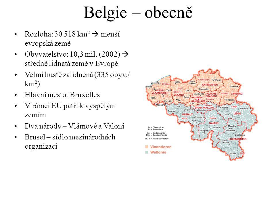 Belgie – obecně Rozloha: 30 518 km 2  menší evropská země Obyvatelstvo: 10,3 mil.