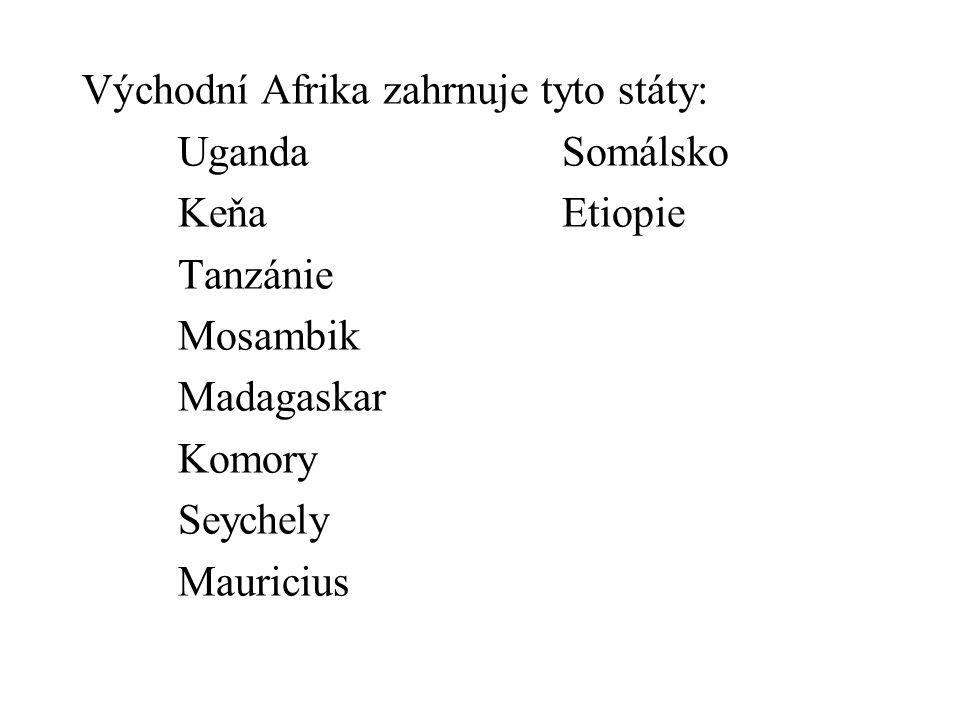 Východní Afrika zahrnuje tyto státy: UgandaSomálsko KeňaEtiopie Tanzánie Mosambik Madagaskar Komory Seychely Mauricius