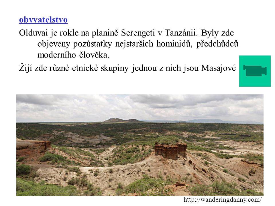 obyvatelstvo Olduvai je rokle na planině Serengeti v Tanzánii. Byly zde objeveny pozůstatky nejstarších hominidů, předchůdců moderního člověka. Žijí z