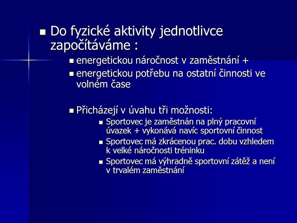 Do fyzické aktivity jednotlivce započítáváme : Do fyzické aktivity jednotlivce započítáváme : energetickou náročnost v zaměstnání + energetickou nároč