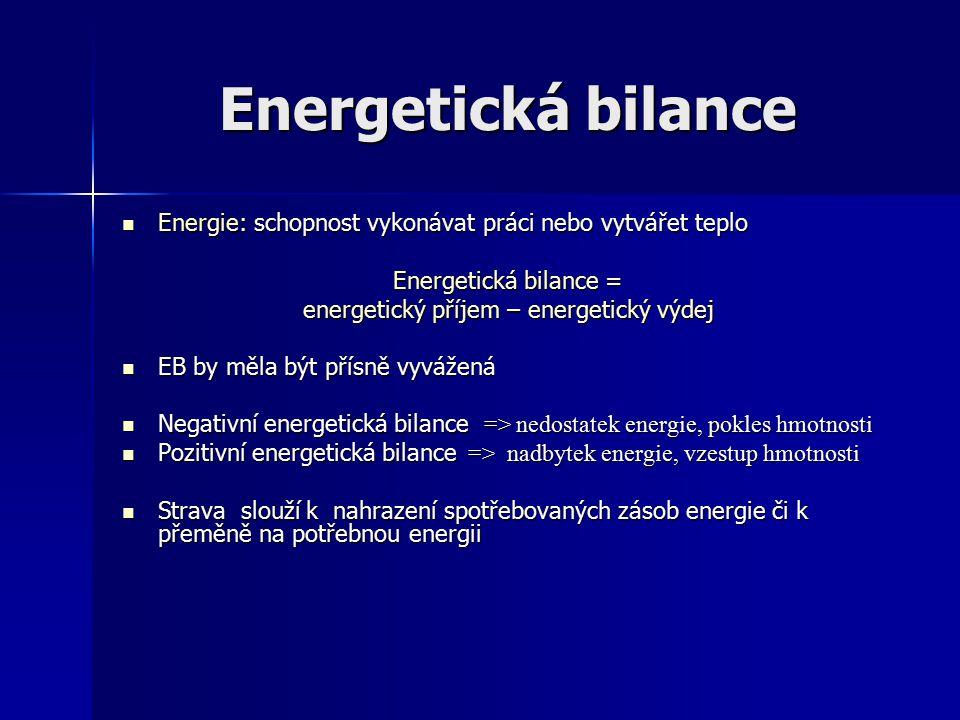 Energie: schopnost vykonávat práci nebo vytvářet teplo Energie: schopnost vykonávat práci nebo vytvářet teplo Energetická bilance = energetický příjem
