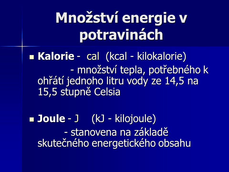 Množství energie v potravinách Kalorie - cal (kcal - kilokalorie) Kalorie - cal (kcal - kilokalorie) - množství tepla, potřebného k ohřátí jednoho lit