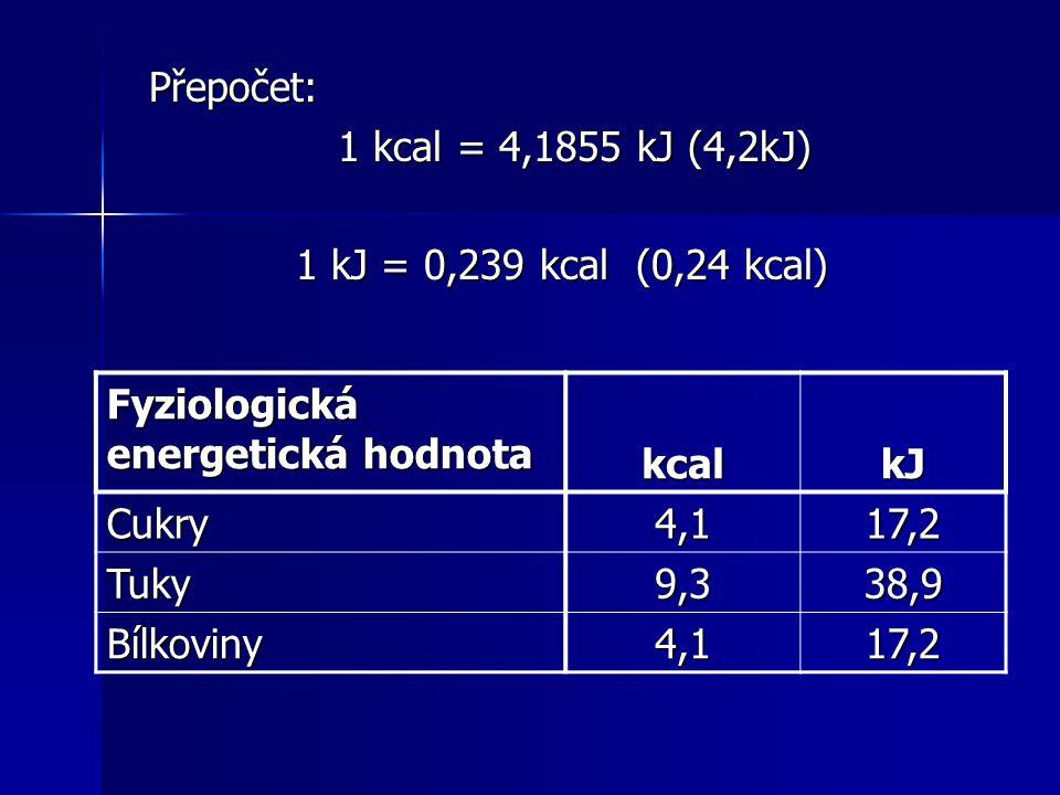 Přepočet: Přepočet: 1 kcal = 4,1855 kJ (4,2kJ) 1 kcal = 4,1855 kJ (4,2kJ) 1 kJ = 0,239 kcal (0,24 kcal) 1 kJ = 0,239 kcal (0,24 kcal) Fyziologická ene