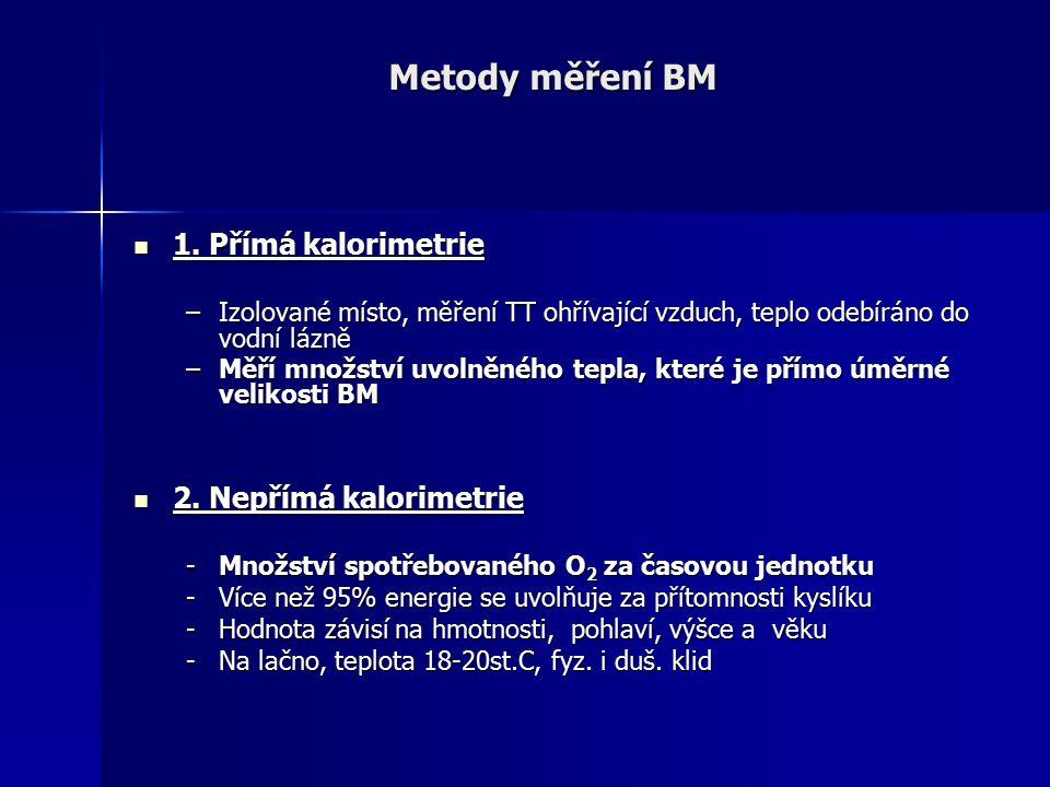 Metody měření BM 1. Přímá kalorimetrie 1. Přímá kalorimetrie –Izolované místo, měření TT ohřívající vzduch, teplo odebíráno do vodní lázně –Měří množs