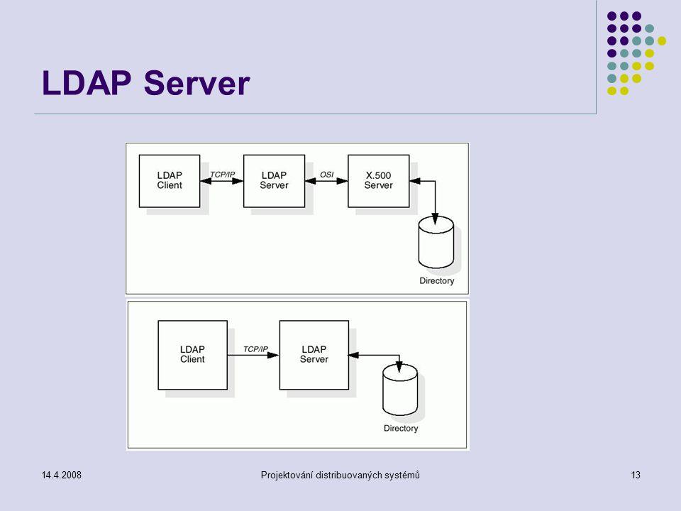 14.4.2008Projektování distribuovaných systémů13 LDAP Server