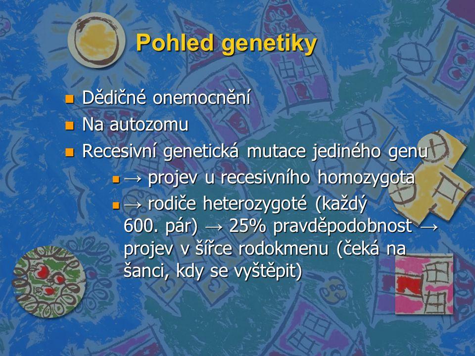 Pohled genetiky n Dědičné onemocnění n Na autozomu n Recesivní genetická mutace jediného genu n → projev u recesivního homozygota n → rodiče heterozyg