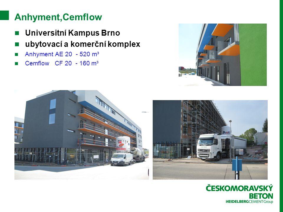 Anhyment,Cemflow Universitní Kampus Brno ubytovací a komerční komplex Anhyment AE 20 - 520 m³ Cemflow CF 20 - 160 m³