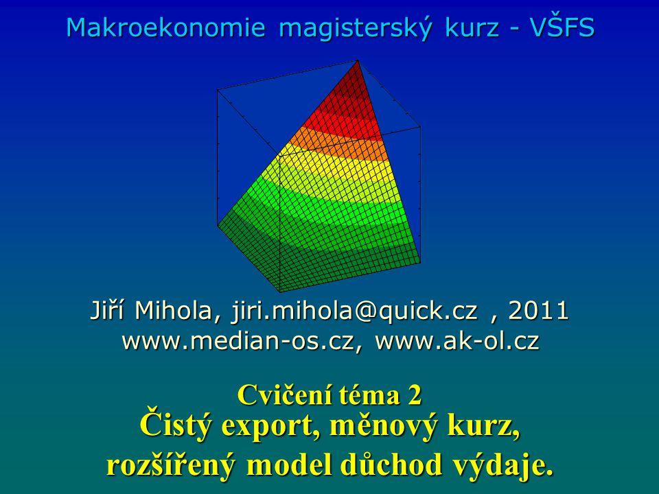 Čistý export, měnový kurz, rozšířený model důchod výdaje. Makroekonomie magisterský kurz - VŠFS Jiří Mihola, jiri.mihola@quick.cz, 2011 www.median-os.