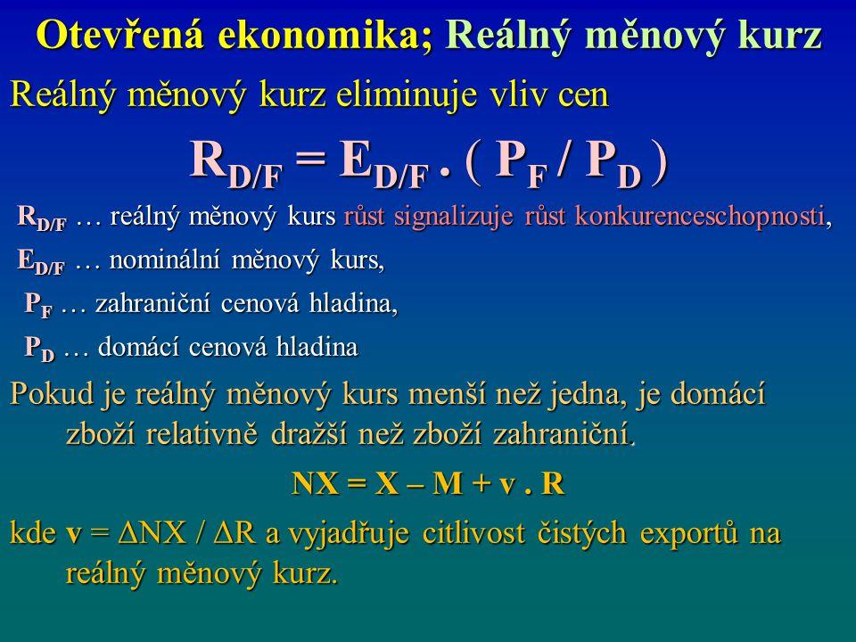 Otevřená ekonomika; Reálný měnový kurz Reálný měnový kurz eliminuje vliv cen R D/F = E D/F. ( P F / P D ) R D/F … reálný měnový kurs růst signalizuje