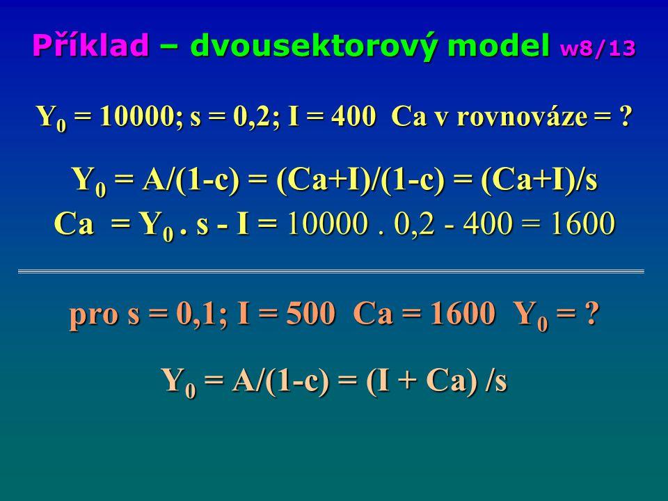 Y 0 = 10000; s = 0,2; I = 400 Ca v rovnováze = ? Y 0 = A/(1-c) = (Ca+I)/(1-c) = (Ca+I)/s Ca = Y 0. s - I = 10000. 0,2 - 400 = 1600 pro s = 0,1; I = 50
