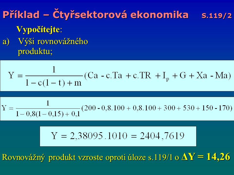 Vypočítejte: Vypočítejte: a)Výši rovnovážného produktu; Příklad – Čtyřsektorová ekonomika S.119/2 Rovnovážný produkt vzroste oproti úloze s.119/1 o ΔY