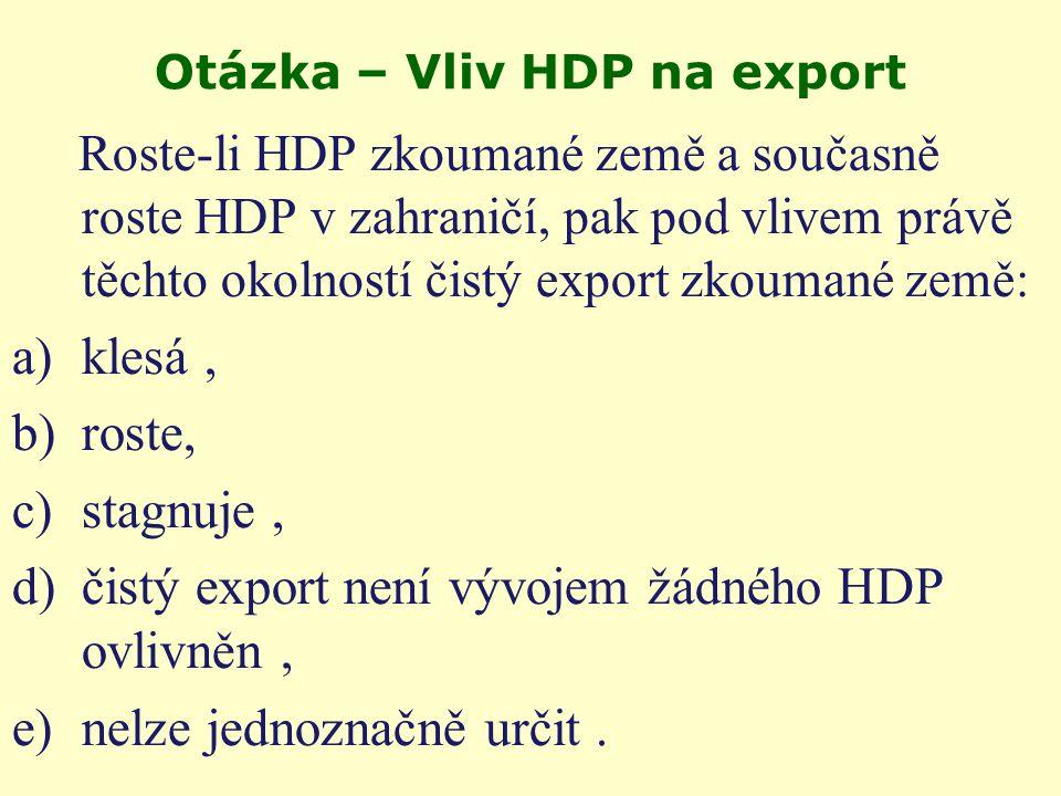 Otevřená ekonomika; Čistý vývoz NX je složkou výdajové metody měření HDP = C+I+G+NX NX = X-M kde NX … čistý vývoz, X … export, M … import.